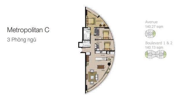 Mặt bằng căn hộ City Garden: Metropolitan C 3 phòng ngủ