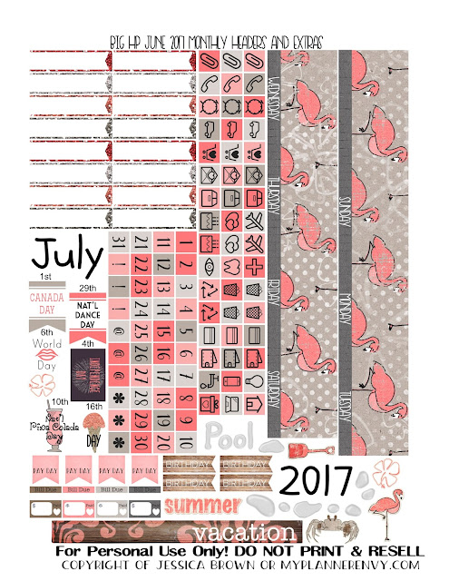 Free Printable July 2017 Monthly Headers and Extras for the Big Happy Planner from myplannerenvy.com