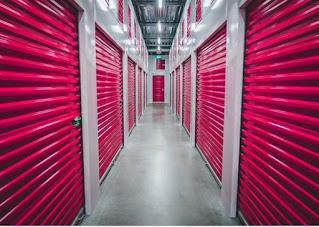 Hallway with storage units