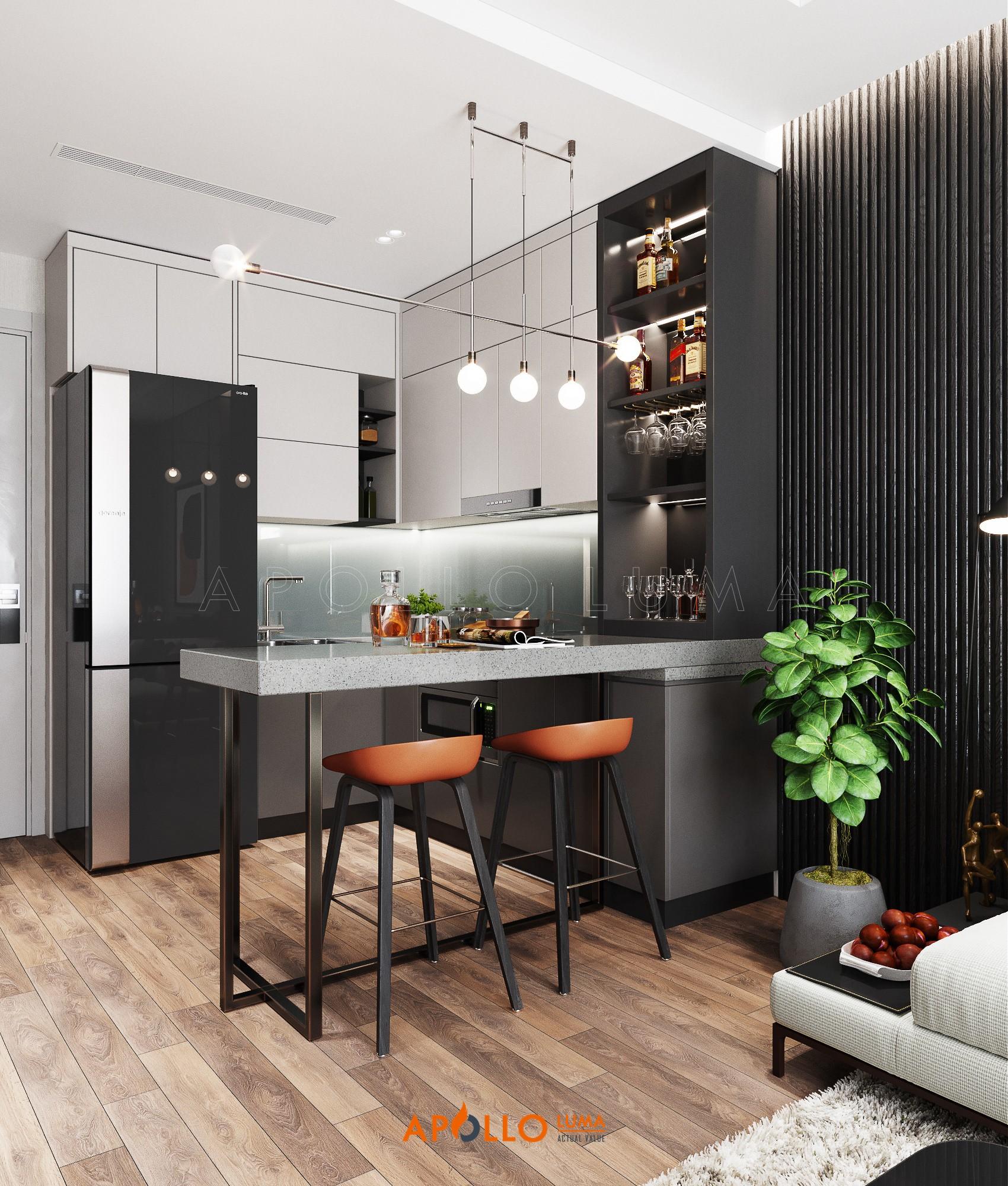 Thiết kế nội thất căn hộ 1 phòng ngủ Vinhomes Smart City Tây Mỗ