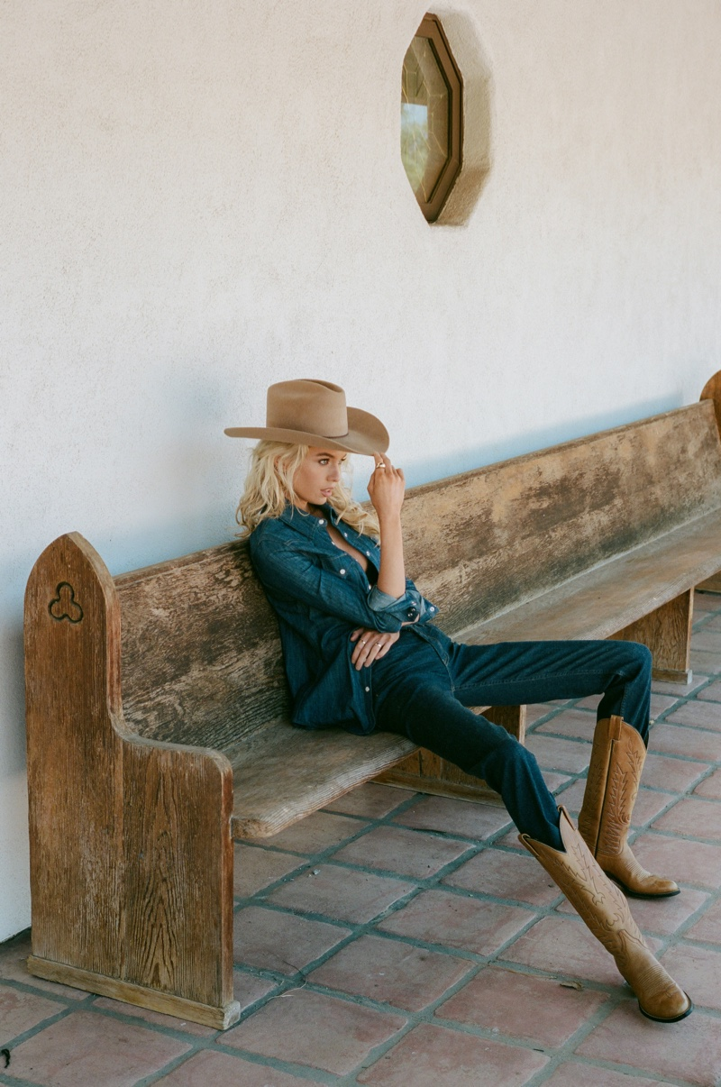 Clad in denim, Stella Maxwell fronts Coût De La Liberté fall-winter 2020 campaign.