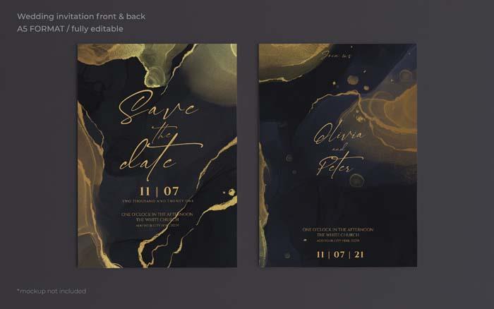 Elegant Black Golden Wedding Invitation Template
