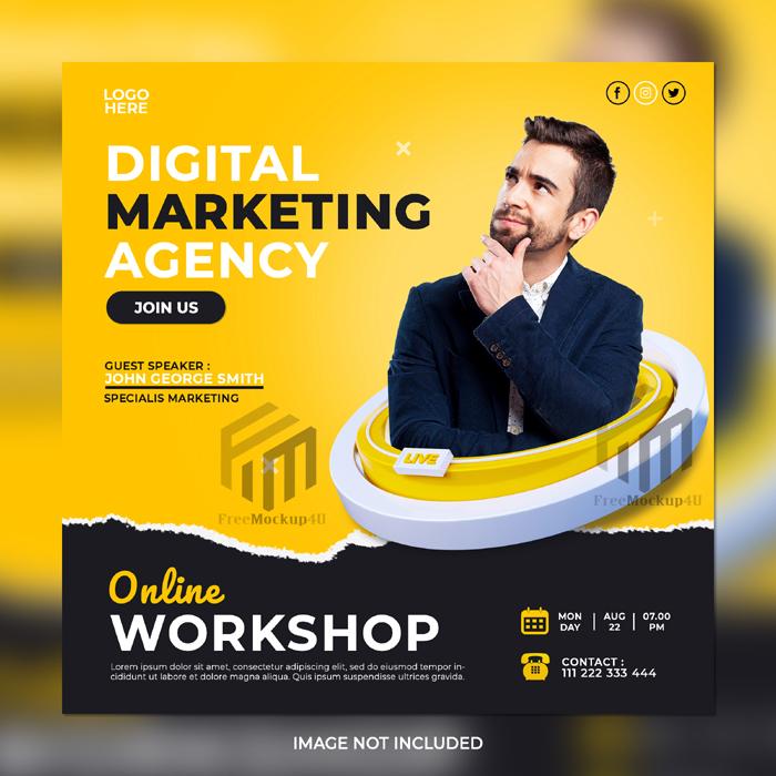 Digital Marketing Online Workshop Corporate Social Media Post Template