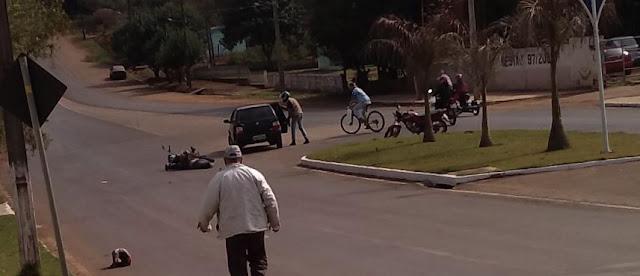 Roncador: motociclista fica ferido em acidente na Avenida São Pedro