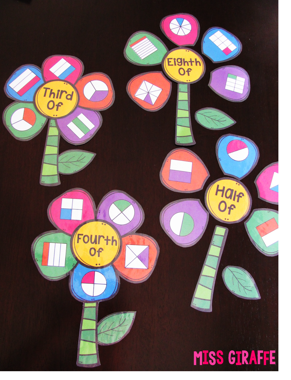 Fractions activity to create half of, fourth of, third of, and eighth of fraction flowers! This math center is a kid favorite! Click to see the other fun ways she teaches fractions!