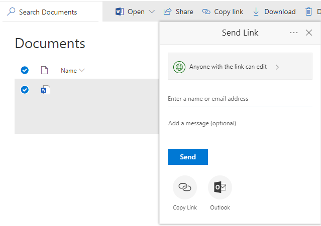 SharePoint OOB - Share Option