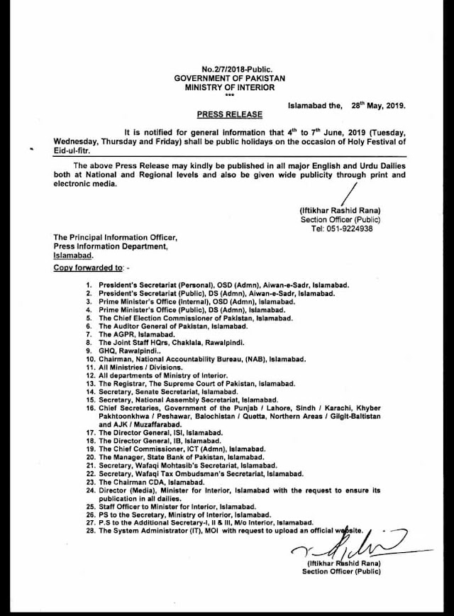 PUBLIC HOLIDAYS ON THE OCCASION OF EID-UL-FITR 2019 NOTIFIED BY FEDERAL GOVERNMENT