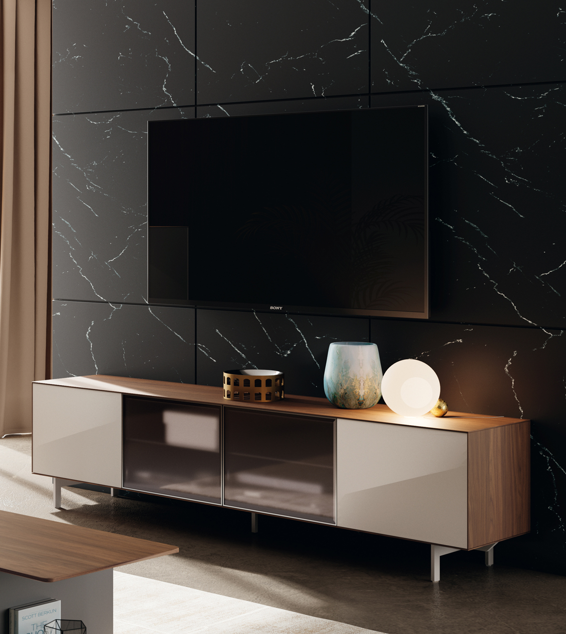 ściana za telewizorem inspiracje