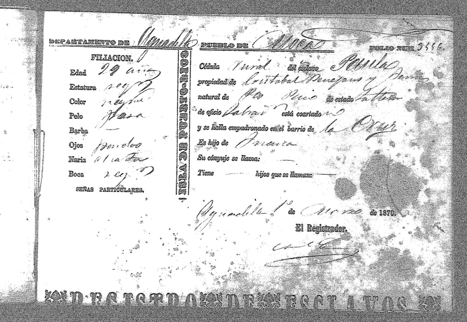3556 paula hija de juana 29 propiedad de cristobal benejans y suria 1 mar 1870 moca aguadilla district agpr gobernadores espanoles