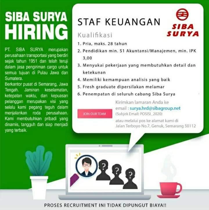 Loker Staff Keuangan PT Siba Surya Semarang