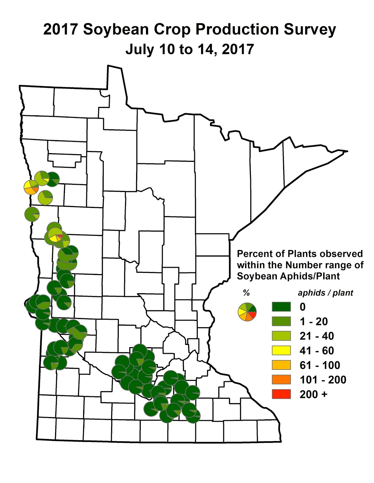 Cropping issues in northwest minnesota update nw mn soybean any pie charts that begin to show orange and red indicate those fields had plants with aphids into the 100s the more red the greater the percent plants nvjuhfo Images