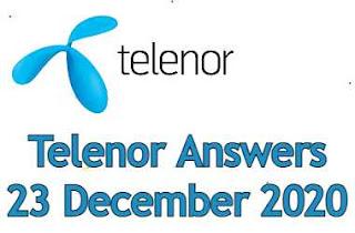 23 December Telenor Quiz | Telenor Answers 23 December 2020
