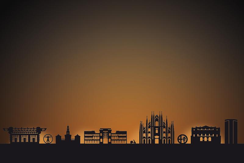 Milan city skyline candle holder