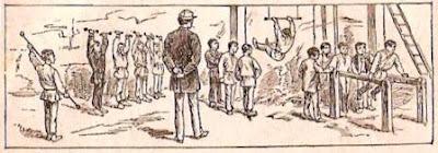 Manuel scolaire, «  La gymnastique rend fort et prépare au métier de soldat. », 1896 (collection musée)