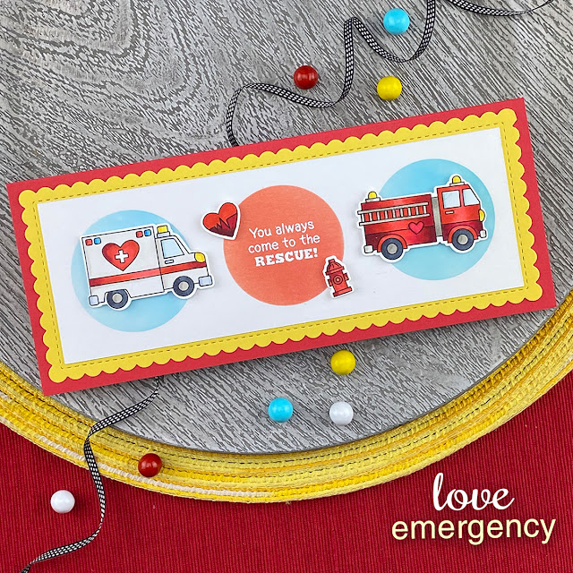 Emergency Vehicles slimline card by Jennifer Jackson | Love Emergency Stamp Set, Slimeline Frames & Portholes Die Set and Slimline Masking Circles & Squares Stencil Set by Newton's Nook Design