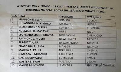 Wenyeviti 13 wa Chadema jimbo la Freeman Mbowe watimkia CCM