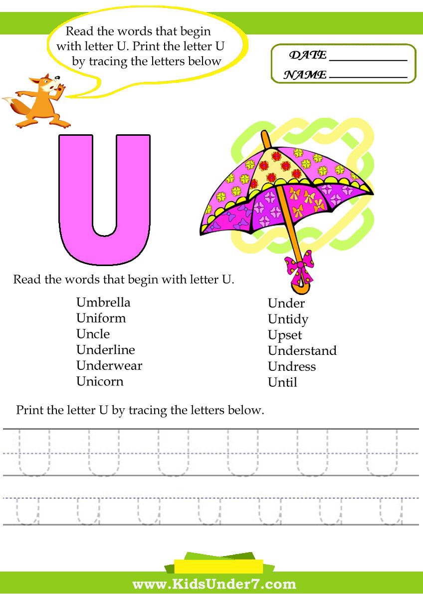 Worksheets U Words For Kids kids under 7 alphabet worksheets trace and print letter u u
