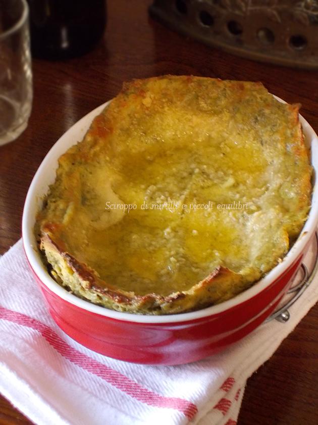 Lasagne con pesto di rucola e basilico