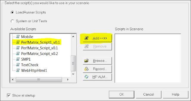 LoadRunner - Manual Scenario - Add Script