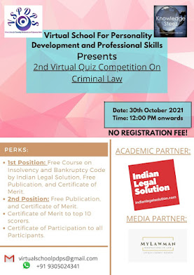 2nd Virtual Quiz Competition on Criminal Law by Virtual School For Personality Development and Profe