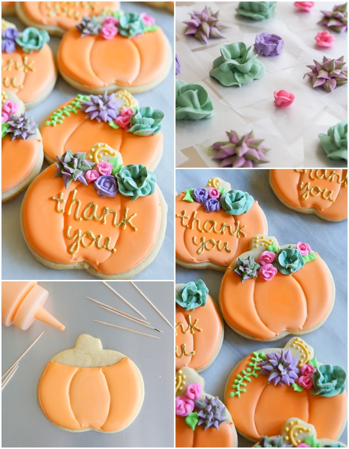 how to make decorated pumpkin cookies with royal icing succulents and roses