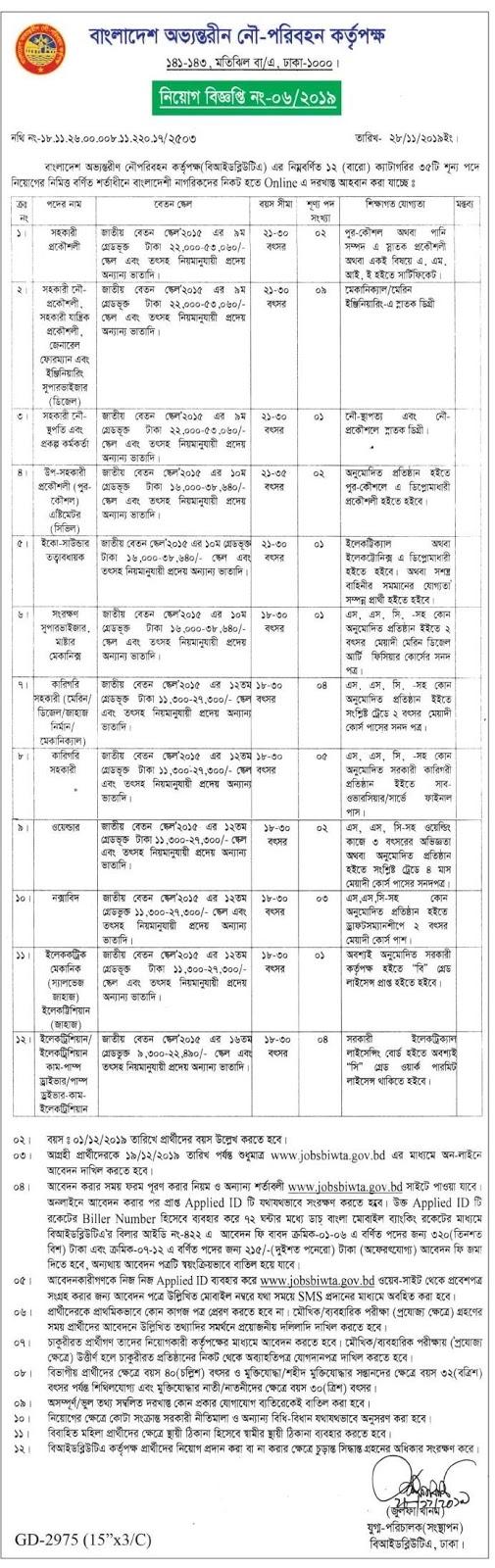 (BIWTA Job Circular in May 2019) বাংলাদেশ অভ্যন্তরীণ নৌ-পরিবহন কর্তৃপক্ষ