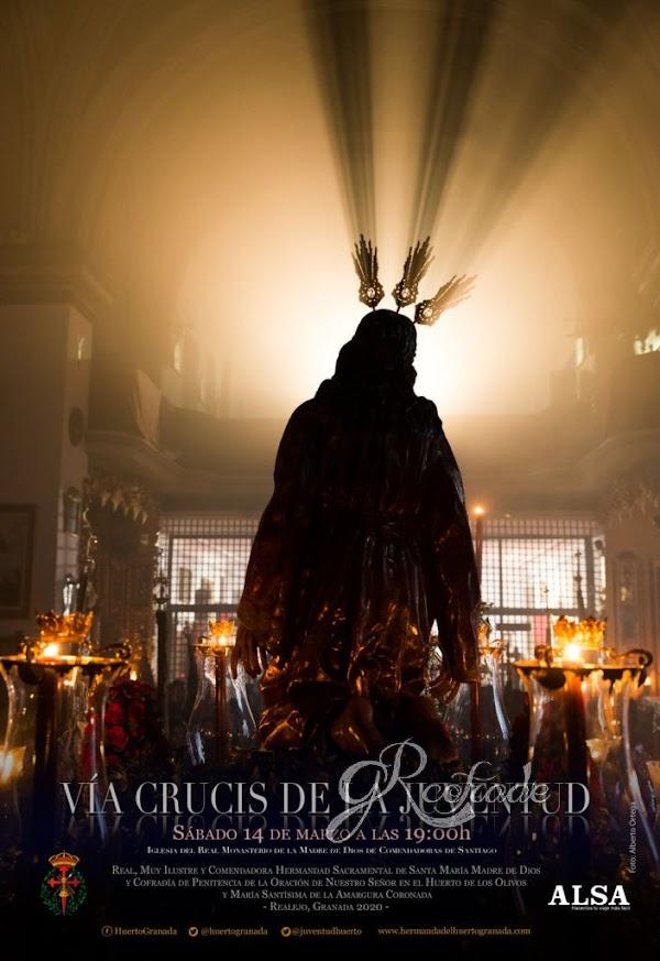 El Cartel que anuncia el Via Crucis de la Juventud de la oracion en el Huerto de Granada