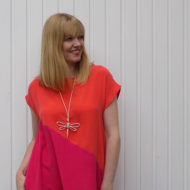 Hope clothing fucshia and orange pop-on dress