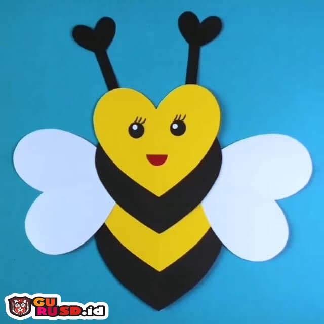 Tutorial Membuat Kerajinan Lebah Madu Berbentuk Hati untuk Anak-Anak Langkah demi Langkah
