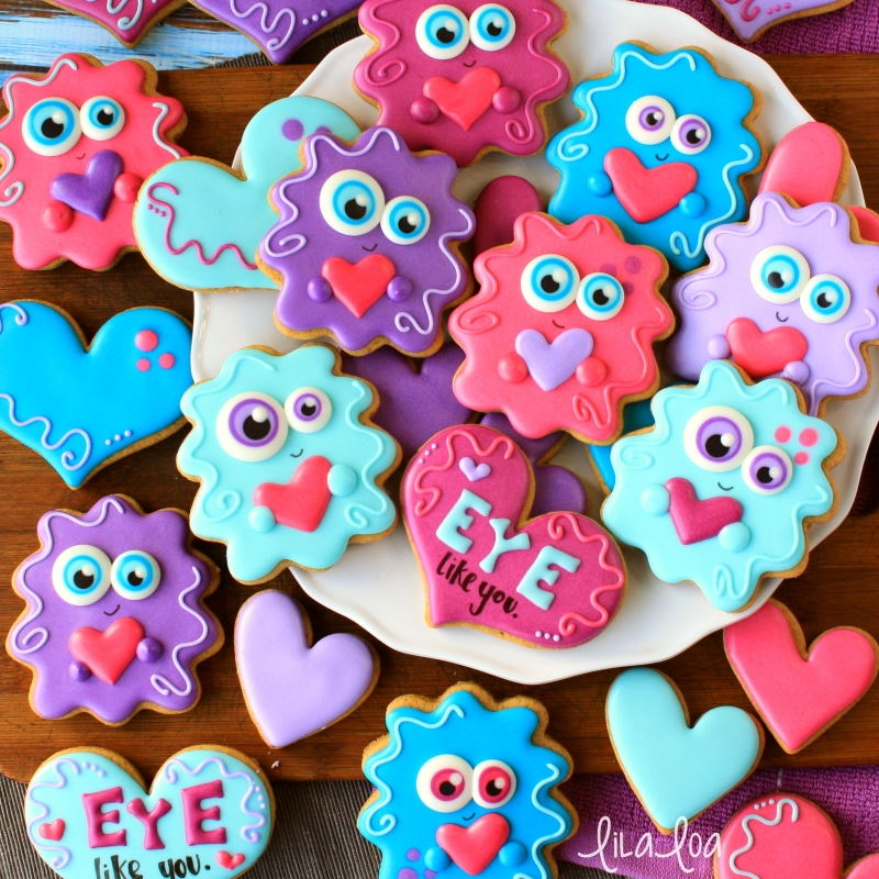 Cute love monster decorated chocolate sugar cookies