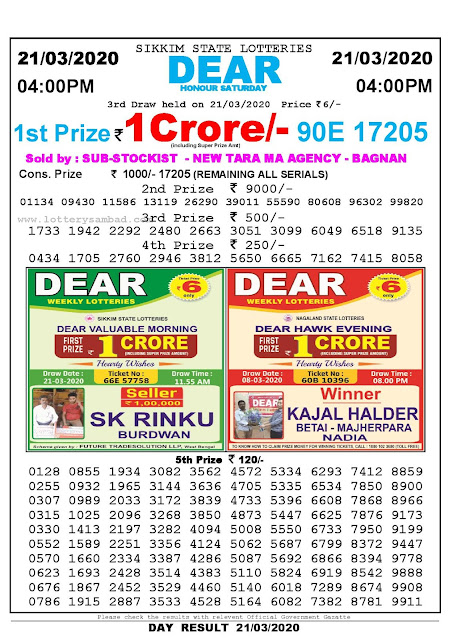 Sikkim State Lotteries 21-03-2020 Lottery Sambad Result 04:00 PM