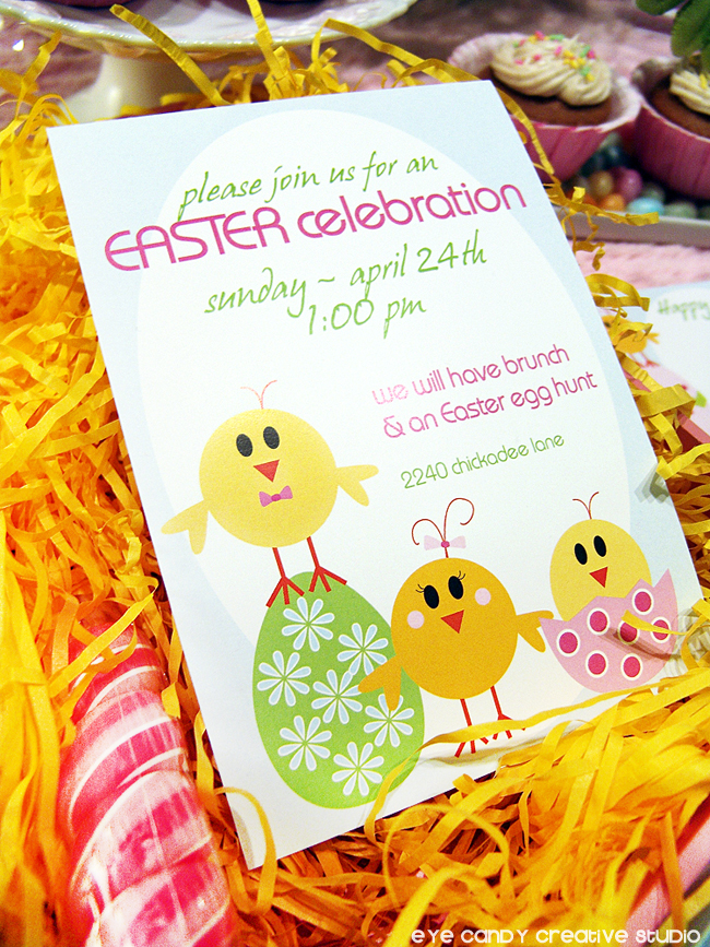 easter party invitation, lil chicks easter invite, easter eggs, easter chicks