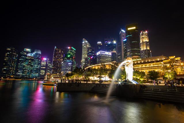 Merlion a Marina Bay-Singapore
