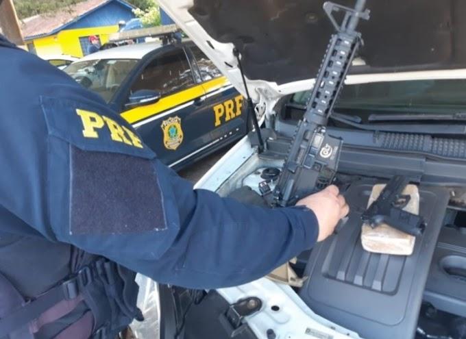 PRF prende Policial Militar com armas e drogas na BR 373 em Ponta Grossa