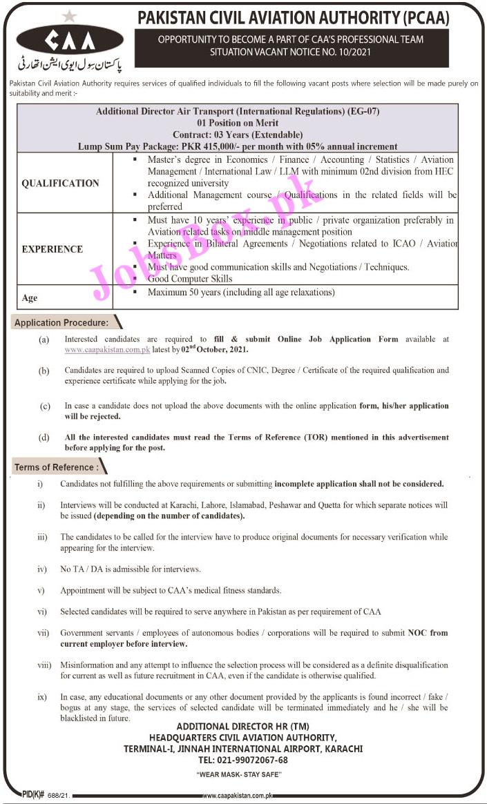 Pakistan Civil Aviation Authority PCAA Jobs 2021 – caapakistan.com.pk