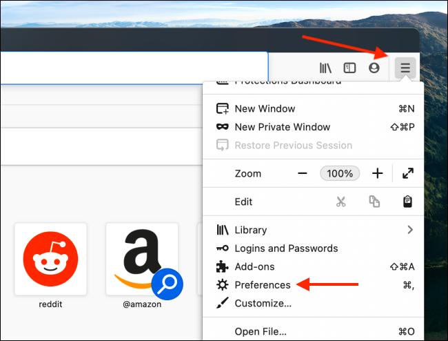 افتح التفضيلات من قائمة Firefox