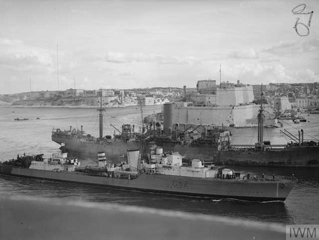HMS Sikh entering Malta's Grand Harbour on 19 January 1942 worldwartwo.filminepctor.com