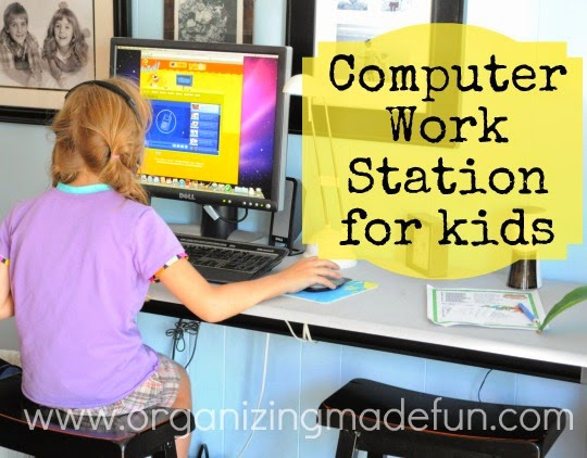 Computer Work Station for the kids :: OrganizingMadeFun.com