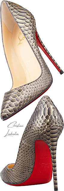 Christian Louboutin So Kate bronze python snakeskin pumps #brilliantluxury