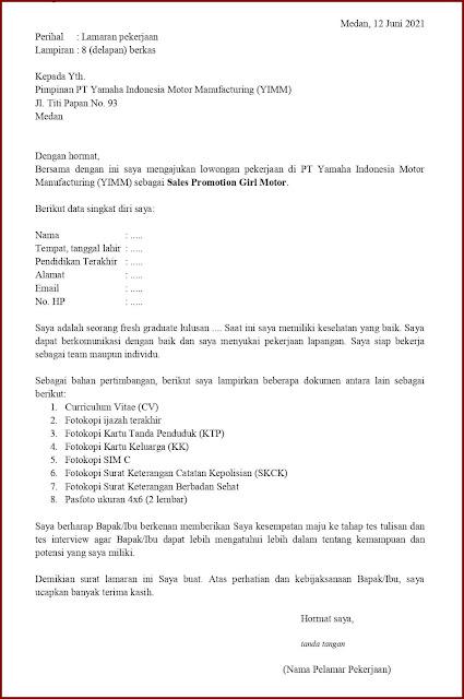 Contoh Application Letter Untuk Sales Promotion Girl Motor (Fresh Graduate) Tanpa Mencantumkan Informasi/Inisiatif Sendiri/Format Khusus Dari Perusahaan