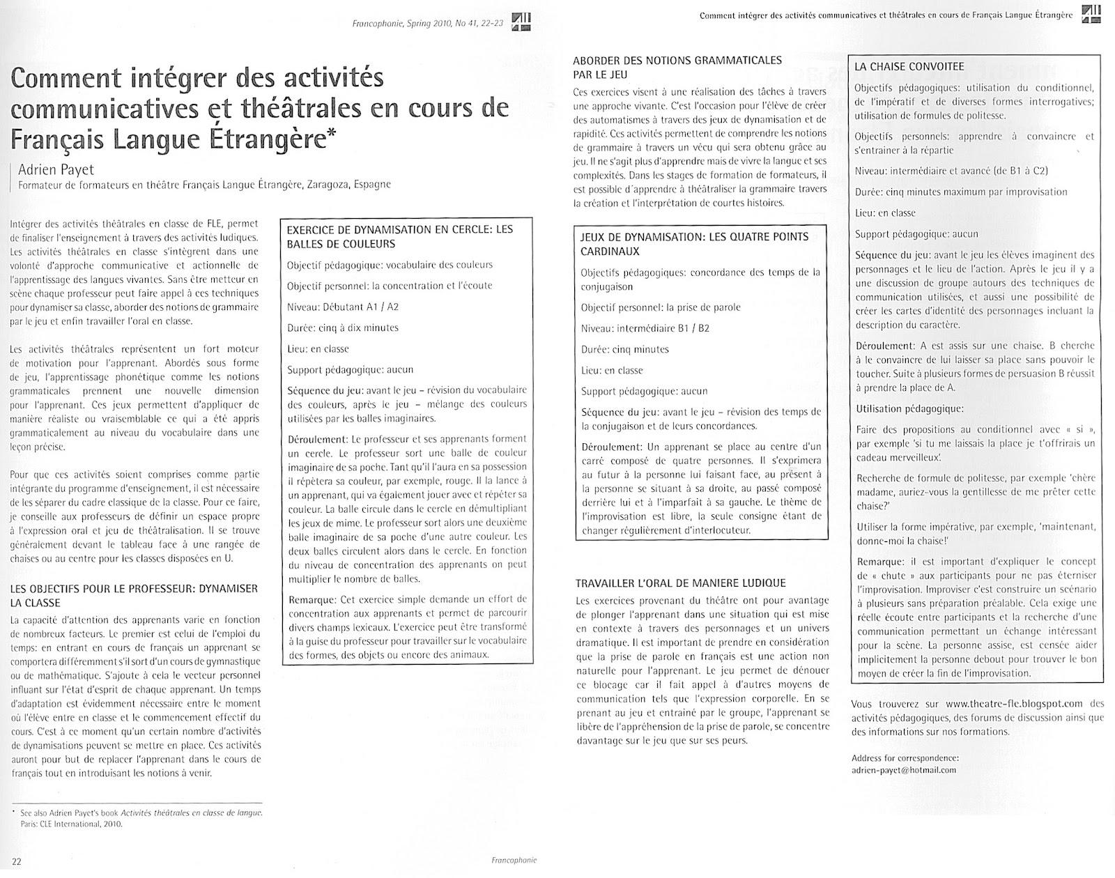 Fabulous Idées d'activités pour la classe de FLE Fiches pédagogiques ZC27