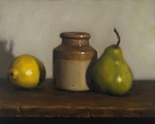 Still life oil painting of a pear, an earthenware jar and a lemon.