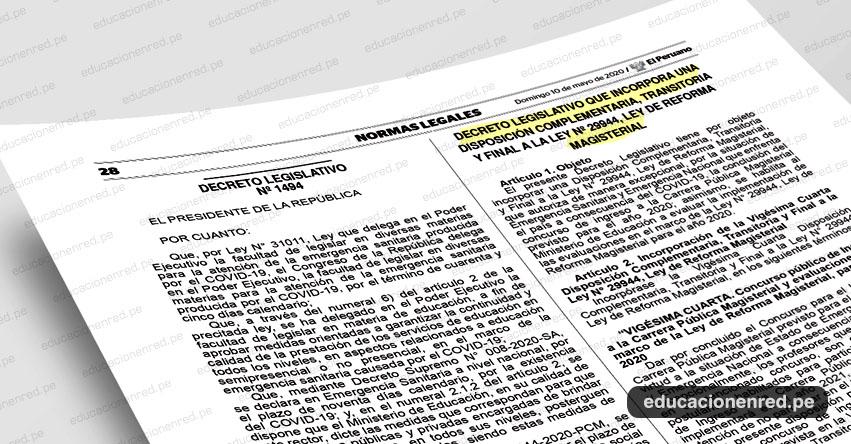 YA ES OFICIAL: MINEDU suspende el Concurso de Nombramiento Docente 2020 (D. Leg. N° 1494)