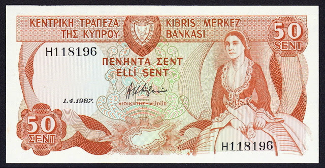 Cyprus Banknotes 50 Cents banknote 1987