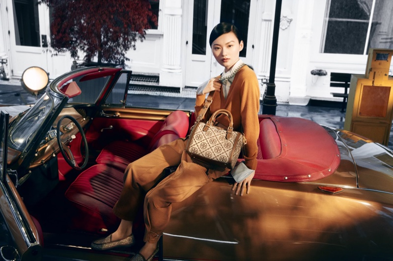 He Cong stars in Tory Burch fall-winter 2021 campaign.