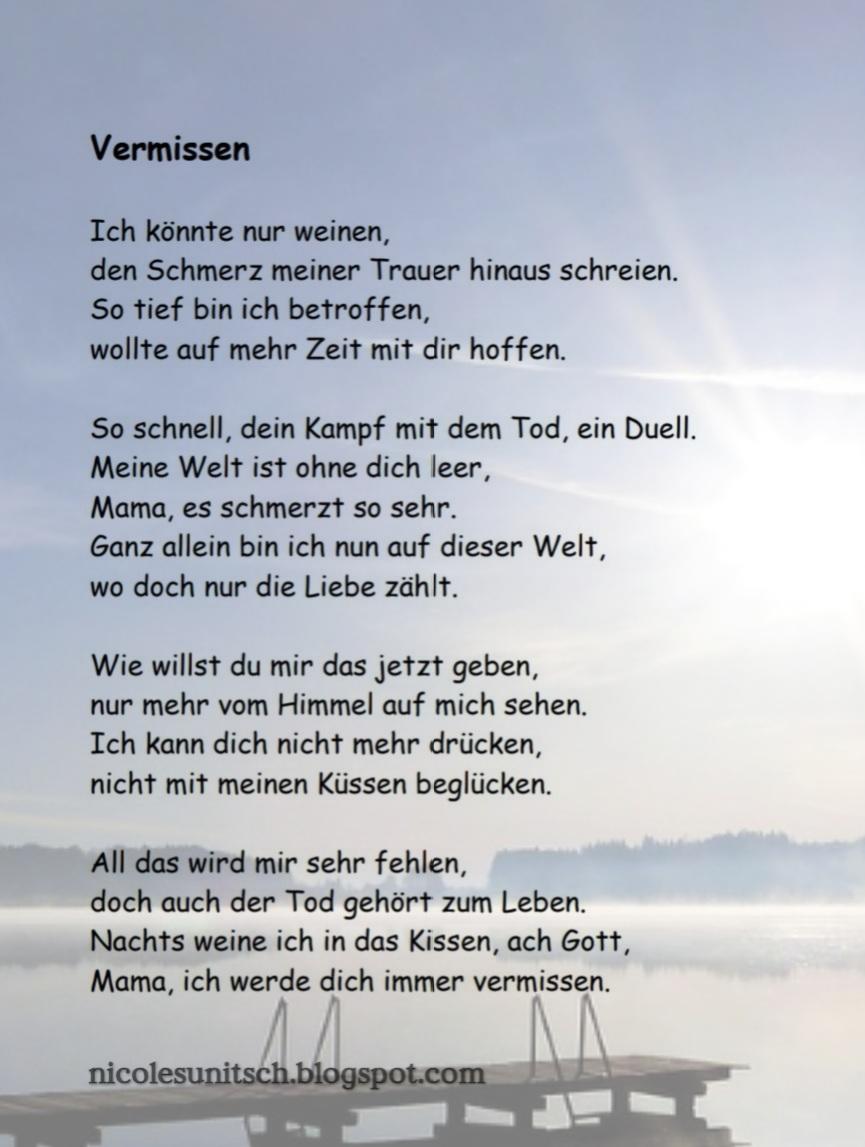 Gedichte von Nicole Sunitsch - Autorin : Vermissen