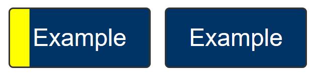 2 botones azul marino, el que tiene el foco tiene un borde amarillo en el lateral izquierdo muy grueso