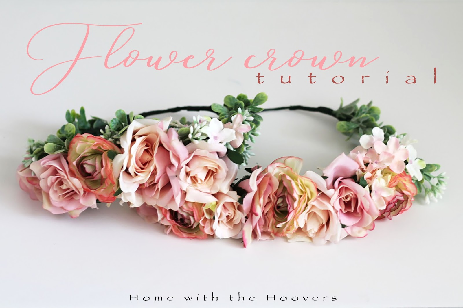 Flower crown tutorial home with the hoovers flower crown tutorial izmirmasajfo