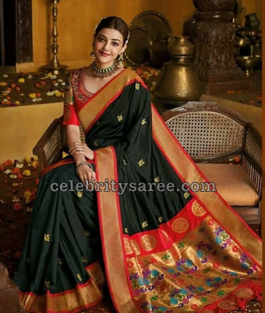 Kajal Agarwal Black Pythani Silk Saree