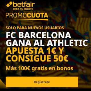 betfair promocuota Barcelona gana Bilbao 17 enero 2021